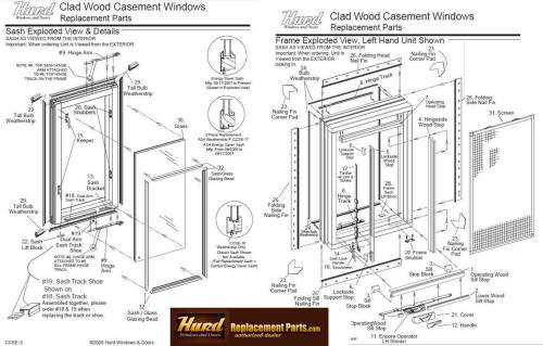 Sliding Window Parts Diagram.Hurd Casement Window Parts Assembly Diagram