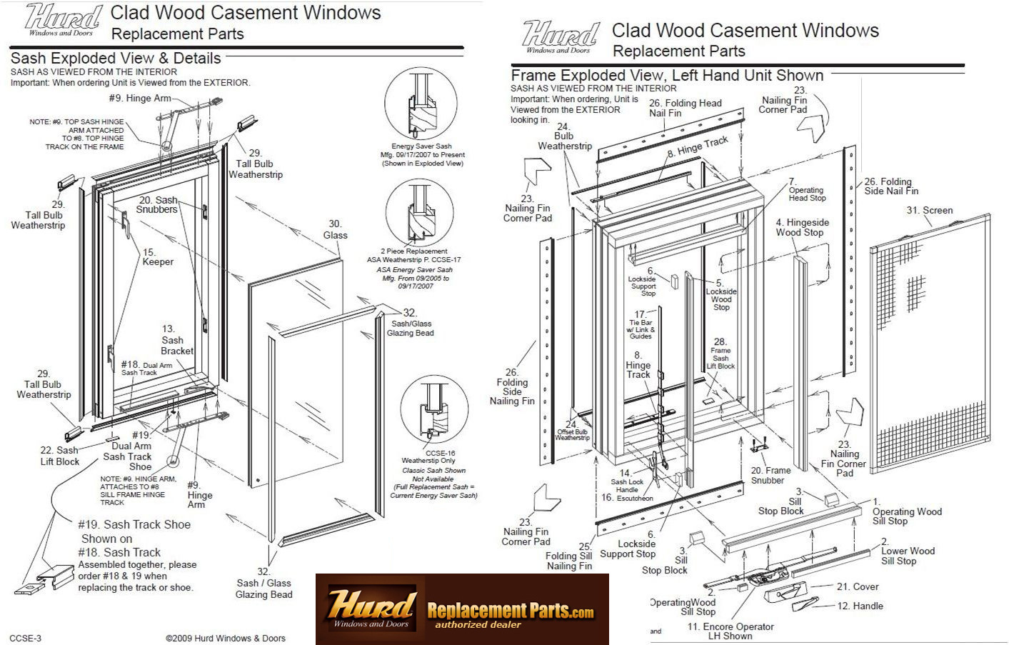 Wood Window Components : Hurd casement window parts assembly diagram